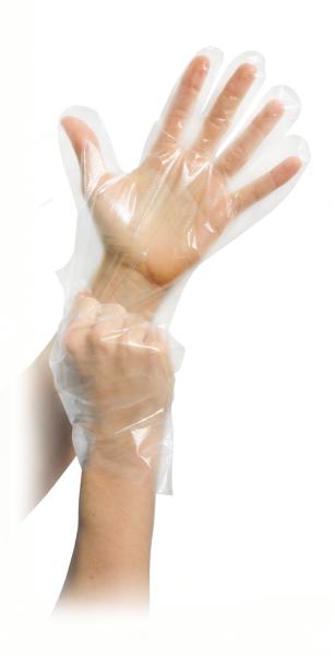 MaiMed® PE Einmal-Handschuhe 100 Stück angezogen