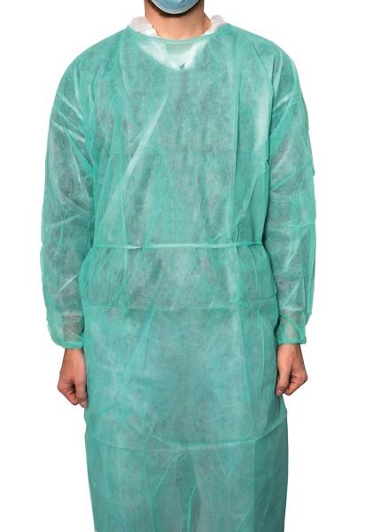 MaiMed® Coat Protect Schutzkittel grün 10 Stück angezogen