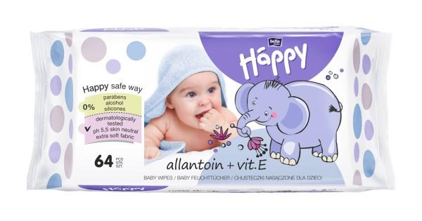 Bella Baby Happy Feuchttücher Allantoin + Vitamin E 64 Stück Verpackung