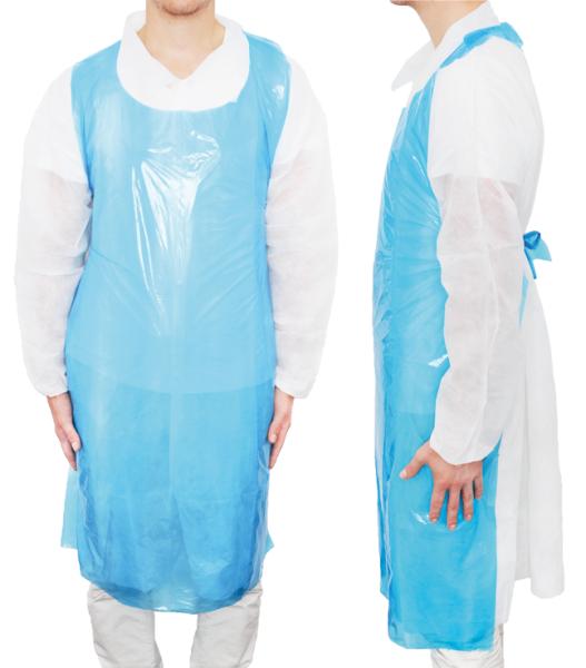 MaiMed® Apron PE Schürzen blau angezogen