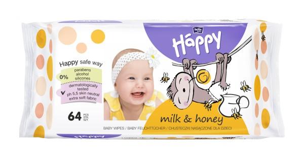 Bella Baby Happy Feuchttücher milk & honey 64 Stück Verpackung
