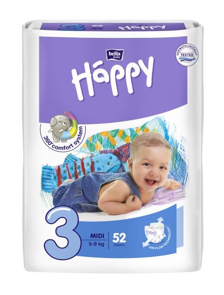Bella Baby Happy Midi 3 Windeln 52 Stück Verpackung