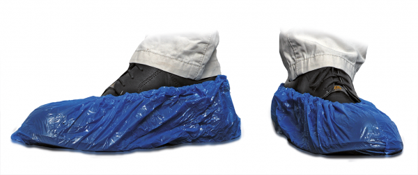 MaiMed® Cover PE Schuhüberzieher blau 100 Stück angezogen