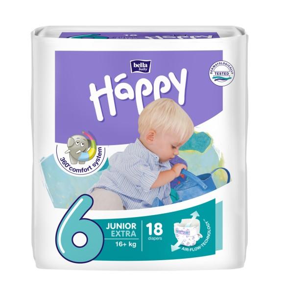 Bella Baby Happy Junior Extra 6 Windeln 18 Stück Verpackung