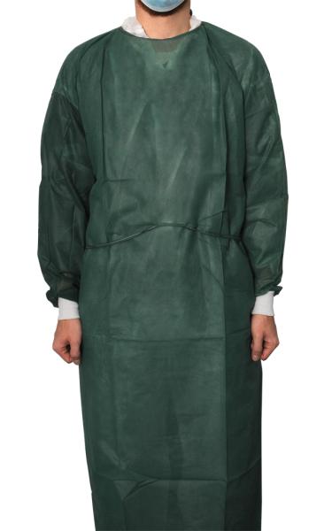 MaiMed® Coat Protect Comfort Schutzkittel dunkelgrün 10 Stück angezogen