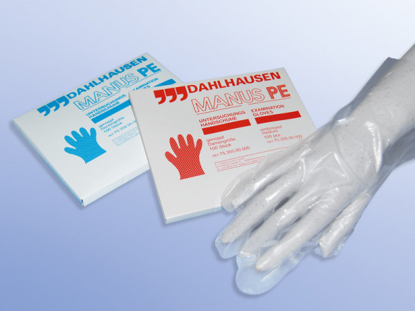 Dahlhausen PE Einmal-Handschuhe transparent 100 Stück Spenderbox Ansicht