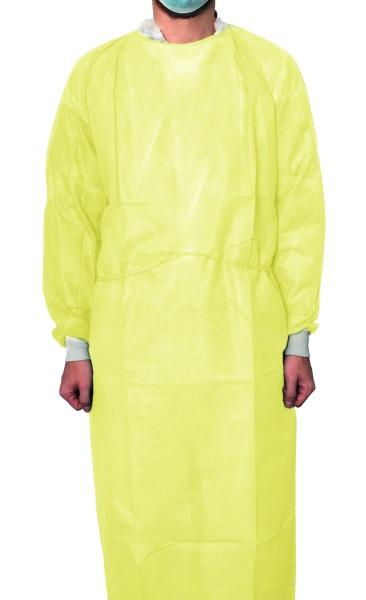 MaiMed® Protect Coat ViruGuard Schutzkittel gelb 10 Stck. angezogen