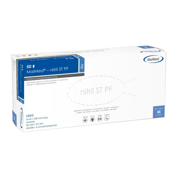 MaiMed® nitril ST PF Handschuhe blau 50 Stück Verpackung