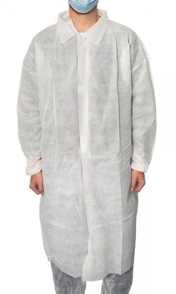 MaiMed® Coat V Besucherkittel weiß 10 Stück angezogen