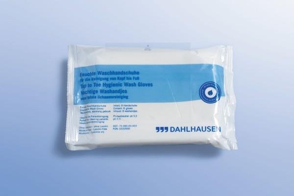 Dahlhausen feuchte Einmal-Waschhandschuhe 8 Stück Verpackung