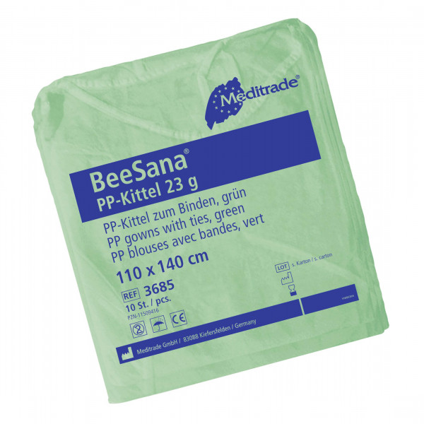 BeeSana® PP-Kittel zum Binden grün 10 Stck. Verpackung