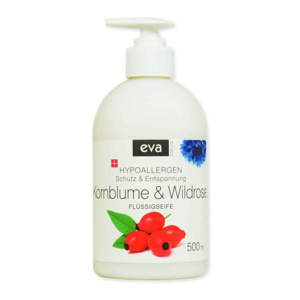 Eva Natura Flüssigseife Kornblume & Wildrose 500 ml Ansicht