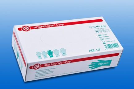 NOBAGLOVE® Vinyl Einmal-Handschuhe transparent 100 Stck. Verpackung