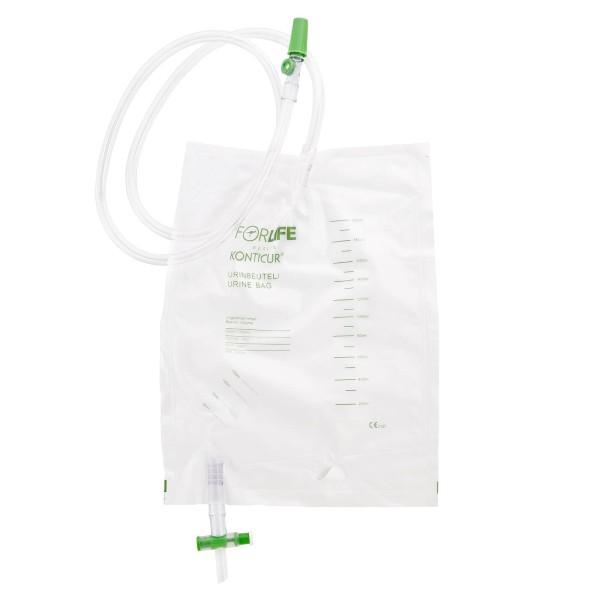 Konticur® Bettbeutel mit Ablauf steril 2000 ml 110 cm Vorderseite