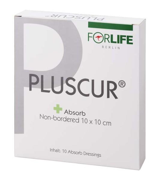 Pluscur® Absorb Non-bordered Wundauflage 10 x 10 cm 10 Stück Verpackung
