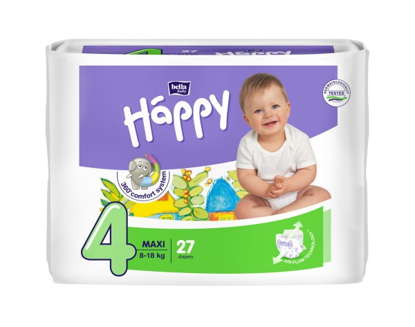 Bella Baby Happy Maxi 4 Windeln 27 Stück Verpackung