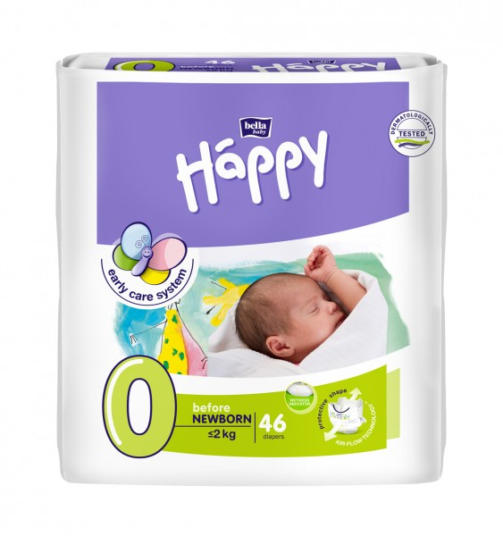 Bella Baby Happy Before Newborn 0 Windeln 46 Stück Verpackung