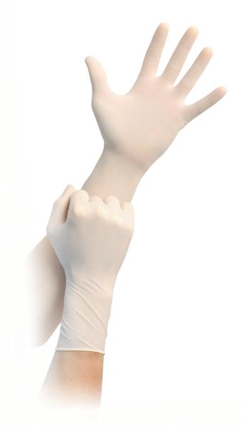 MaiMed® Flex Plus steril Handschuhe hellbeige 100 Stück angezogen