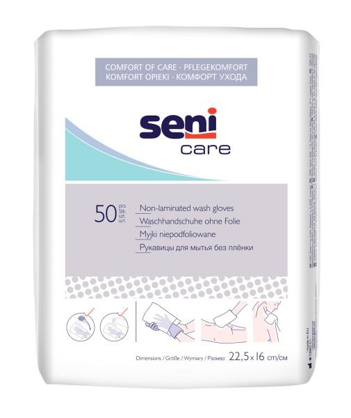 Seni Care Waschhandschuhe unfoliert 50 Stück Verpackung