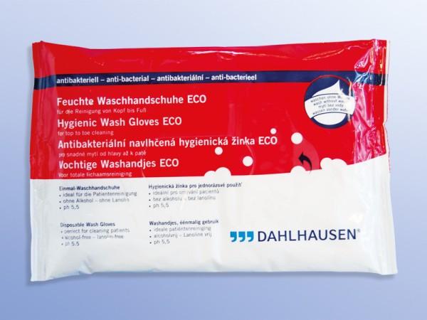 Dahlhausen feuchte Einmal-Waschhandschuhe ECO antibakteriell 8 Stück Verpackung