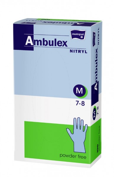 Ambulex Nitril Einmal-Handschuhe medium blau 100 Stück Verpackung