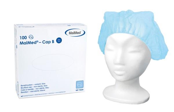 MaiMed® Cap B Baretthaube Kopfschutz blau 100 Stück Ansicht