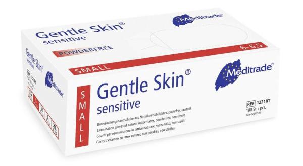 Gentle Skin® sensitive Latex-Handschuhe gelb 100 Stck. Verpackung